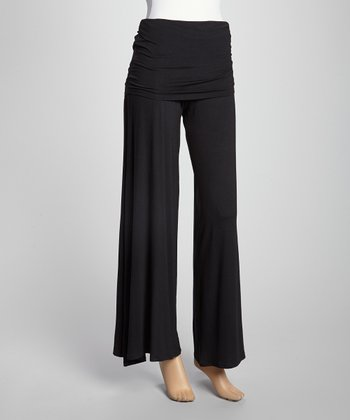 Black Fold-Over Palazzo Pants