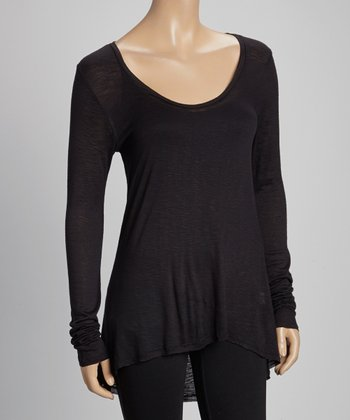 Black Hi-Low Scoop Neck Top