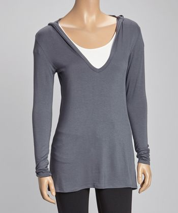 Charcoal Hooded Long-Sleeve Top