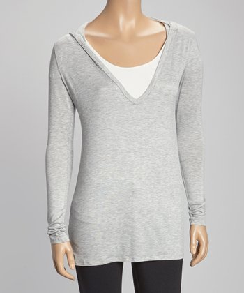 Heather Gray Hooded Long-Sleeve Top