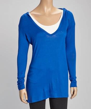 Cobalt Blue Hooded Long-Sleeve Top