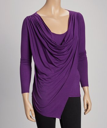 Eggplant Drape Long-Sleeve Top