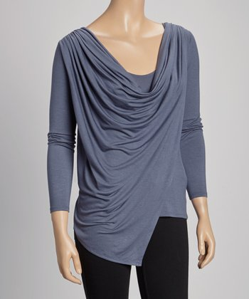 Steel Long-Sleeve Drape Top