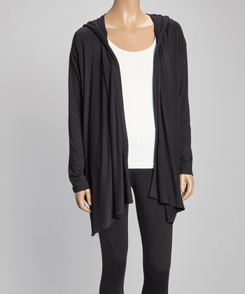 Black Hooded Open Cardigan