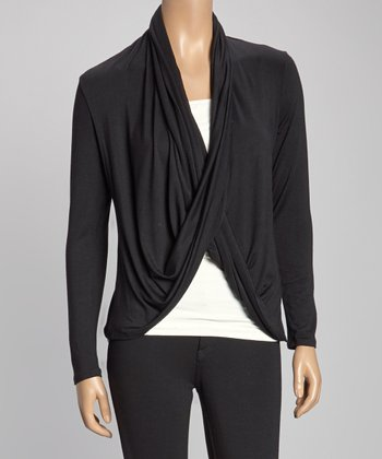 Black Drape Open Cardigan