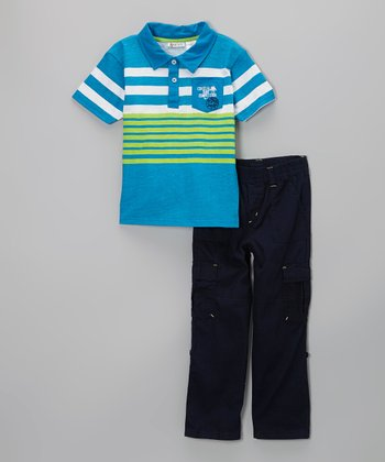 Blue Stripe Polo & Navy Cargo Pants - Infant, Toddler & Boys