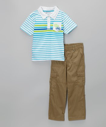 Blue Stripe Polo & Khaki Cargo Pants - Infant, Toddler & Boys