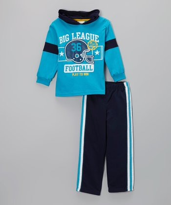 Blue 'Football' Hooded Tee & Track Pants - Infant & Toddler