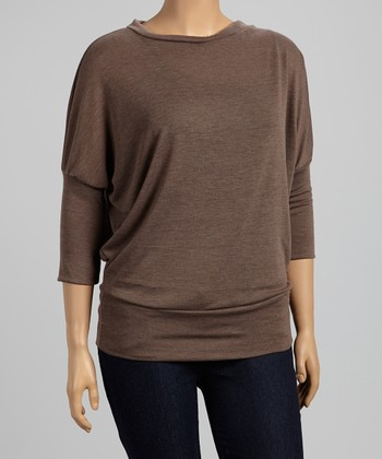 Brown Dolman Top - Plus