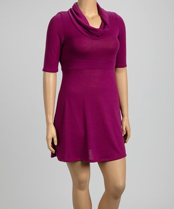 Magenta Cowl Neck Dress - Plus