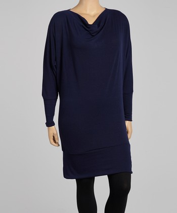 Navy Sweater Dress - Plus