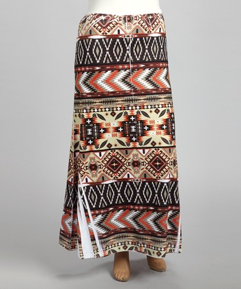 Brown Tribal Sublimation Maxi Skirt - Plus