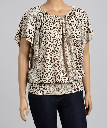 Brown & Cream Jungle Cape-Sleeve Top - Plus