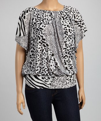 Black & White Jungle Cape-Sleeve Top - Plus
