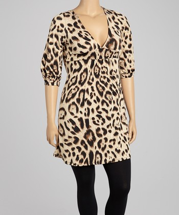 Tan Cheetah V-Neck Tunic - Plus