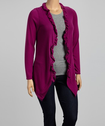 Magenta Ruffle Open Cardigan - Plus