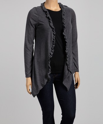 Charcoal Ruffle Open Cardigan - Plus