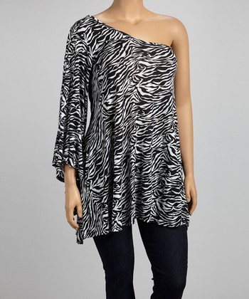 Black & White Narrow Zebra Asymmetrical Tunic - Plus