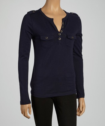 Navy Pocket Henley Top