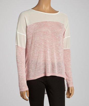 Pink & Ivory Color Block Top