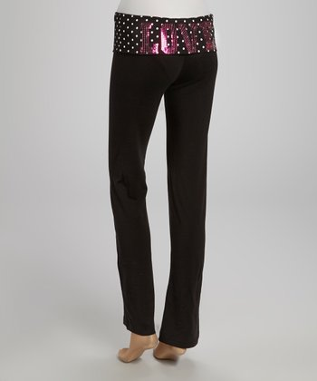 Black & White Polka Dot 'Love' Yoga Pants