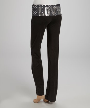 Charcoal & White Polka Dot 'Love' Yoga Pants