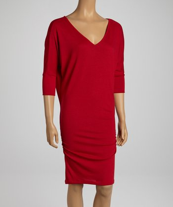 Burgundy Ruched Double V Dress