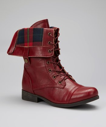 Burgundy Fold-Over Freda Boot