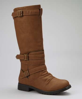 Taupe Buckle-Wrapped Gloria Boot