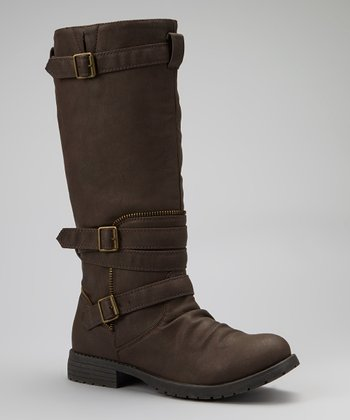 Brown Buckle-Wrapped Gloria Boot
