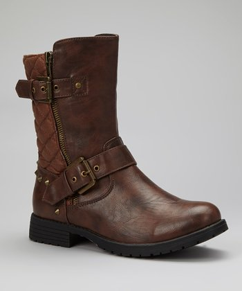 Cognac Quilted Gloria Boot