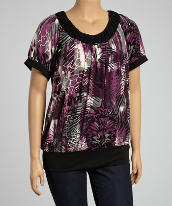 Purple Abstract Scoop Neck Top – Plus