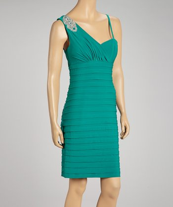Green Asymmetrical Bandage Dress