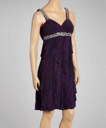 Eggplant Embellished Ruffle Dress