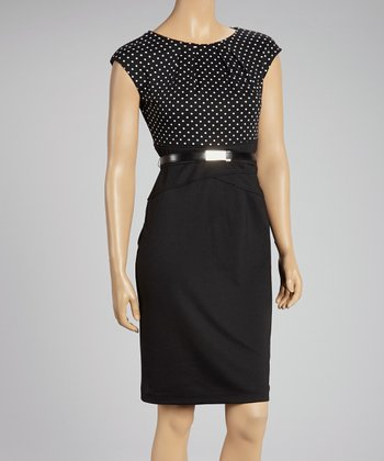 Black & White Polka Dot Belted Dress
