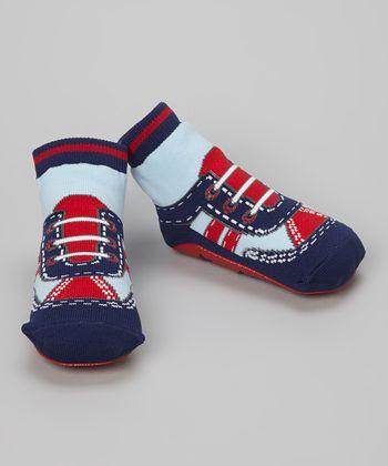 Skidders Blue & Red Sneaker Gripper Socks