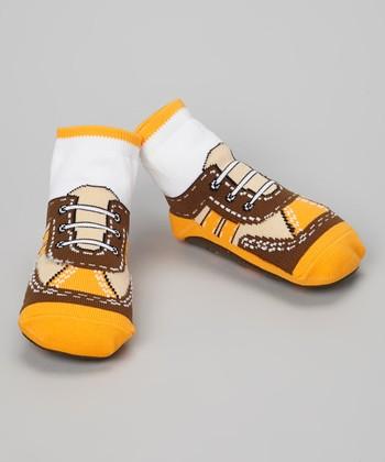 Skidders Brown & Yellow Cool Sneaker Gripper Socks