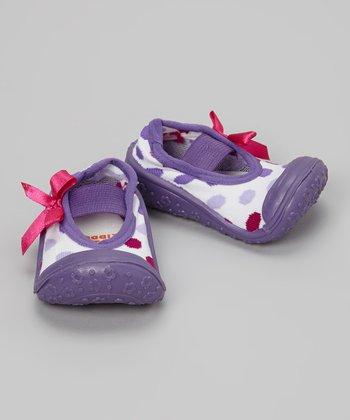 Skidders Purple Polka Dot Gripper Mary Jane