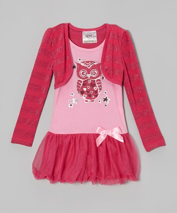 Hot Pink Owl Tutu Dress & Shrug
