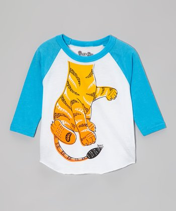 White & Turquoise Tiger Raglan Tee - Toddler & Boys