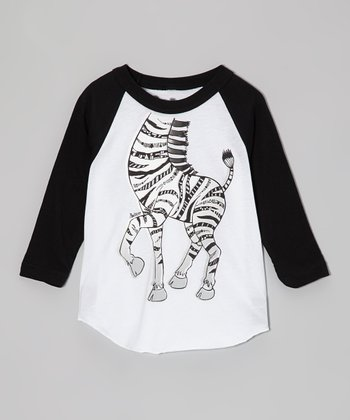White & Black Zebra Raglan Tee - Toddler & Boys