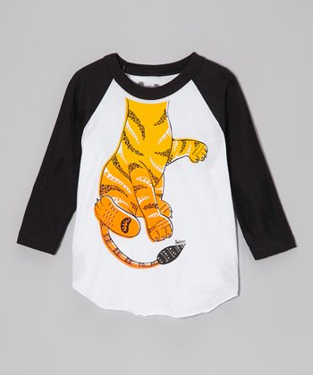 White & Black Tiger Raglan Tee - Toddler & Boys