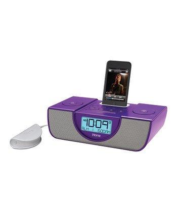 Purple Dual Alarm Clock Radio for iPhone/iPod