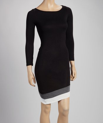 Black, Gray & White Color Block Edge Dress