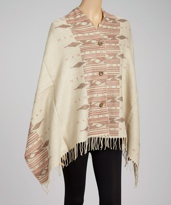 Cream & Brown Tribal Button Shawl