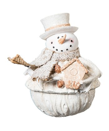 Scarf Snowman & Bird House Figurine