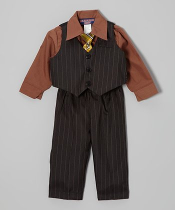 Dark Gray Pinstripe Four-Piece Vest Set - Infant & Toddler