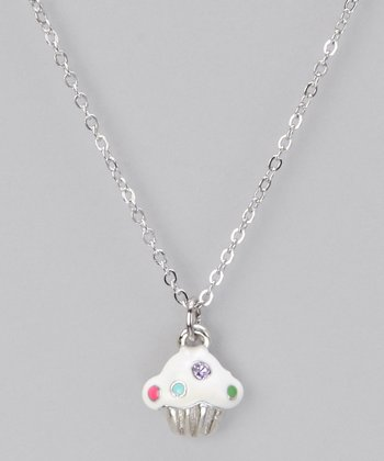 Silver 1,000 Wishes Cupcake Necklace
