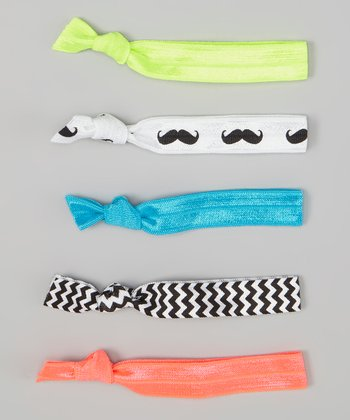 Teal & Coral Mustache Hair Tie Set