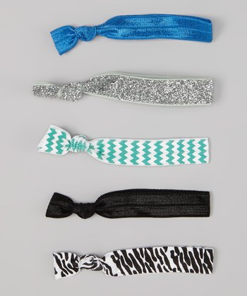 Blue & Mint Green Zigzag Hair Tie Set
